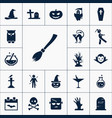 broom icon halloween set simple sign vector image