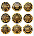 brown and gold medal collection vector image vector image