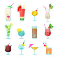 cocktails collection alcoholic summer drinks vector image