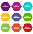 cruise ship icon set color hexahedron vector image vector image