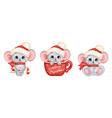 cute cartoon christmas mice set vector image