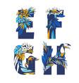 decorative set tropical pattern letters alphabet vector image