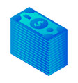 dollar stack icon isometric style vector image vector image