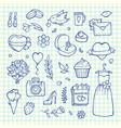 doodle wedding elements set background vector image