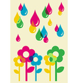 Drops watering flowers background vector image vector image