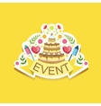 Event Template Label Cute Sticker With Cake And vector image vector image