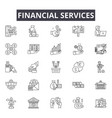 financial services line icons for web and mobile vector image vector image