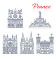 french travel landmark icon of european churches vector image vector image