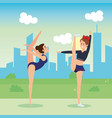girls practicing dancing characters vector image