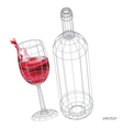 glass red wine set glasses vector image