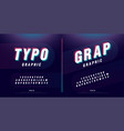 glitched alphabet font design headline typeface vector image vector image