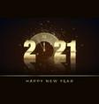 golden clock instead zero in 2021 happy new vector image vector image