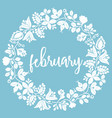 hand drawn february sign with wreath on blue vector image vector image