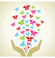Hand emitted Colorful butterflies background vector image vector image
