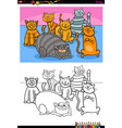 happy cats animal characters group color book vector image vector image