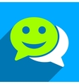 Happy Chat Flat Square Icon with Long Shadow vector image vector image