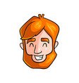 happy face young redhead man with closed eyes vector image
