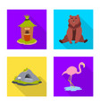 isolated object of safari and animal symbol set vector image