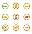 language study icons set cartoon style vector image vector image