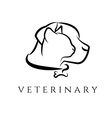 Logo template for veterinary clinic with cat and vector image vector image