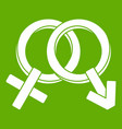 male and female signs icon green vector image vector image