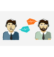 Male call center avatar icons with speech bubbles vector image vector image