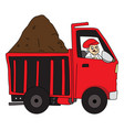 man driving truck loaded with mud vector image