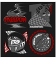 Motorcycle racers emblems set in the vector image vector image