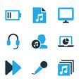 music icons colored set with earphone song list vector image vector image