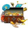 old eastern chest with treasures vector image vector image