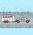 pickup with horse trailer in city vector image
