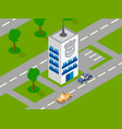 police building car isometric vector image