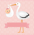 Poster Stork With Baby Girl vector image