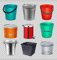 realistic 3d metal and plastic buckets with handle vector image vector image