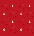 red seamless pattern with golden christmas trees vector image