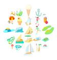resort icons set cartoon style vector image vector image