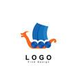 sailboat logo viking ship with dragon design vector image