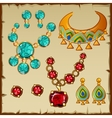 Set ethnic jewelry with precious stones and metals vector image