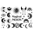 set isolated black magical moon icons vector image