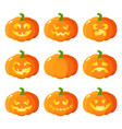 set of cartoon halloween pumpkin jack-o-lanterns vector image vector image