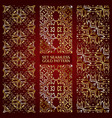Set of golden lace pattern red vector image