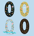 set of number zero with retro floral decor vector image vector image