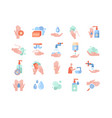 set personal hygiene and hand washing icons vector image