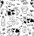 Sketch Seamless Pattern Of Funny Cows vector image vector image