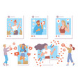 social media influencers with likes and hearts vector image vector image