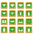 underwear items icons set green vector image vector image