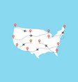 usa map with airplane flight paths on a blue vector image vector image