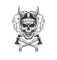 viking skull wearing horned helmet vector image