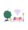 Wifi in park with people using smartphone