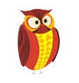 wild forest bird owl red and yellow plumage big vector image